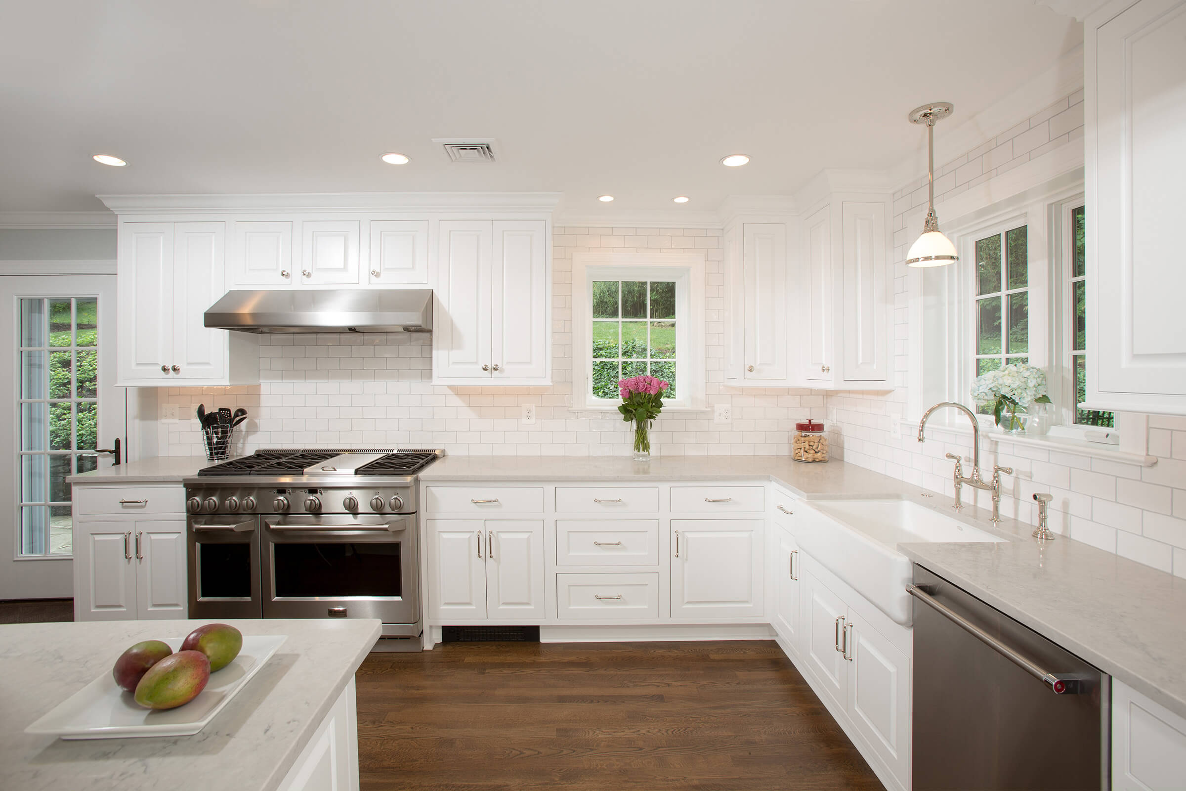 White Kitchen Cabinets With Light Green Doors